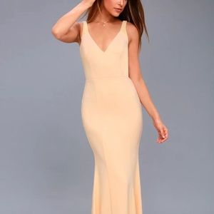 Lulu's Celena Nude Beaded Maxi Dress